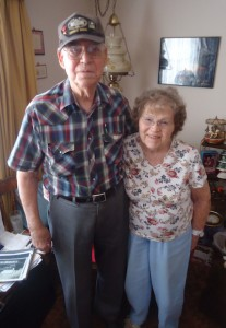 Les Collins with his wife of nearly 63 years, Alice.