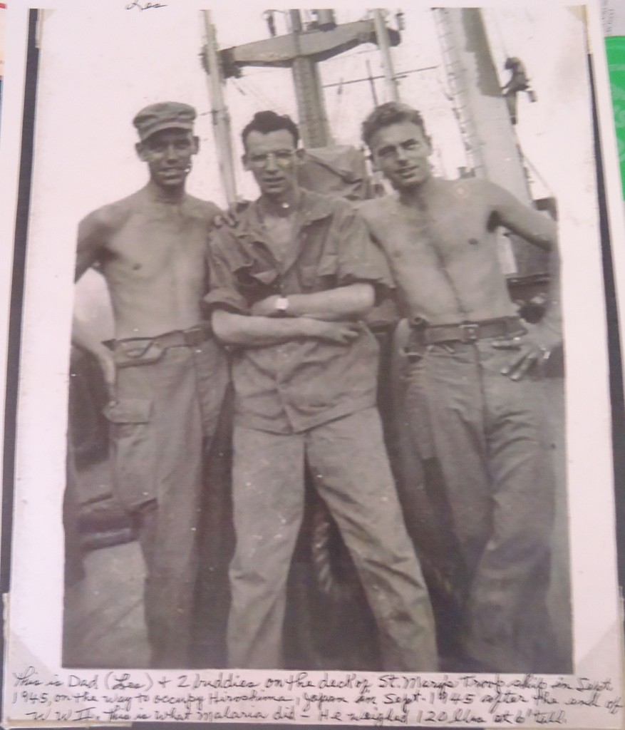 Les Collins (left) with two fellow 41st Infantry soldiers on their way to occupation duty in Hiroshima in September, 1945. For more photos, visit the Hometown Heroes page on facebook.