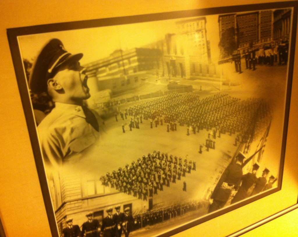 Dick calling out orders at midshipmen's school at Columbia University in New York.