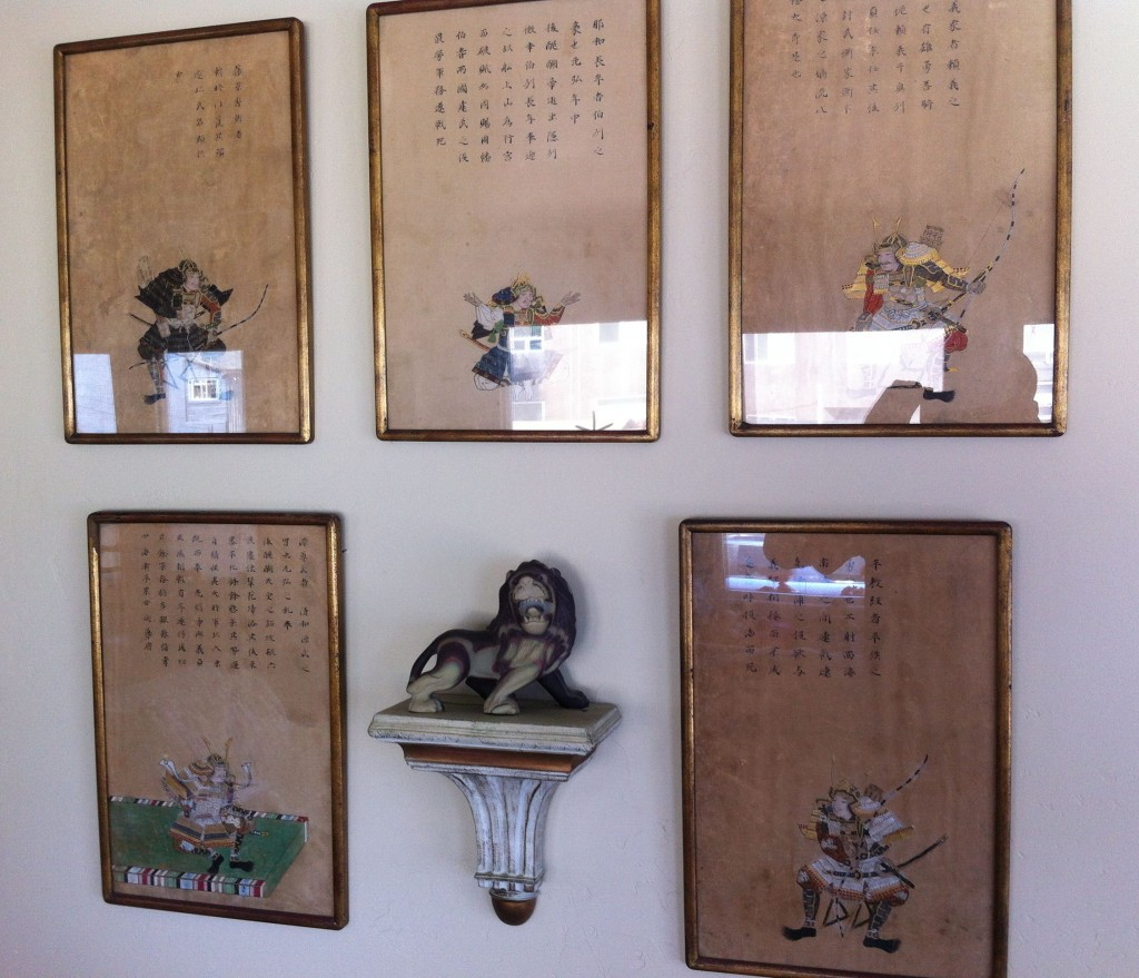 Rare pieces of Samurai art given to Dick by the older Japanese man (and Harvard grad) he encountered while scouting out a beach for a potential landing at the end of World War II.