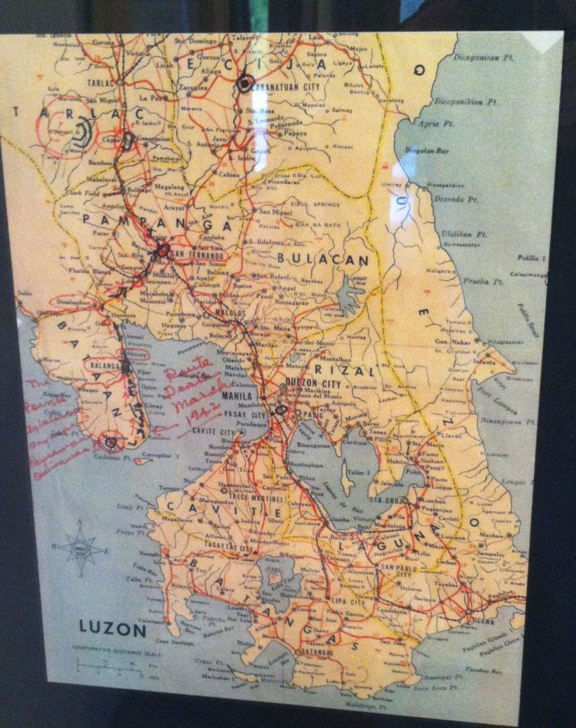 A map of the Philippines, showing where Bill was captured, as well as the route his fellow 200th Coast Artillery soldiers took on the Bataan Death March