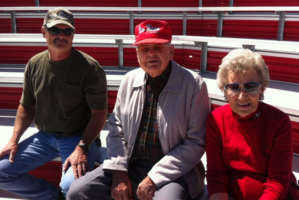 Bill and Ann Overmier, with their son, Chuck, before Bill threw out the first pitch at the Fresno State-New Mexico baseball game.