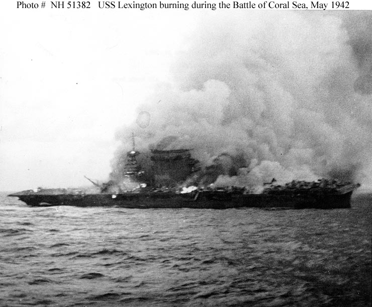 The USS Lexington after being hit by two Japanese bombs and a torpedo on May 8, 1942