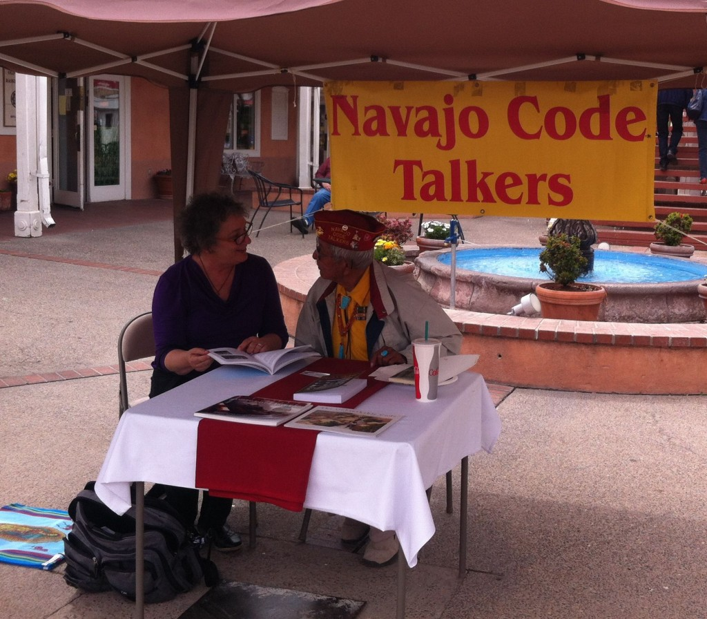 Bill Toledo sharing the legacy of the Navajo Code Talkers in Old Town Albuquerque.