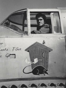 Richard Emler in the cockpit of his B-25J