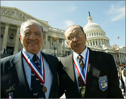 Mitch Higginbotham (left) and his brother Robert after receiving the Congressional Gold Medal with other Tuskegee Airmen in 2007.