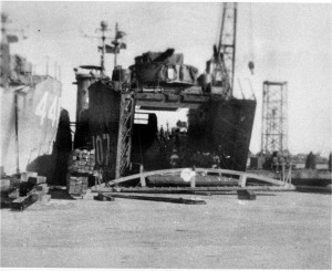 Ivan Hudson served on LSM-107, shown here unloading supplies on a Pacific beach.