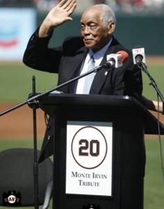 Monte Irvin having his number 20 retired by the San Francisco Giants on June 26, 2010