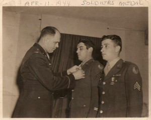 Nyle Smith (right) after being awarded the Soldiers Medal for his heroics in the aftermath of the B-17 crash.