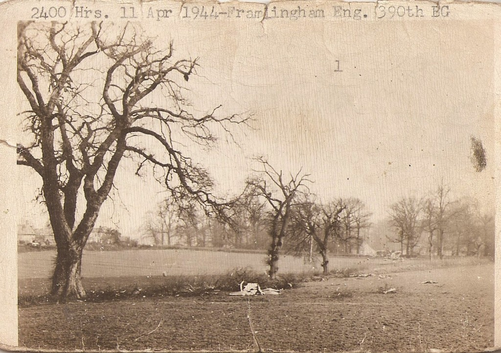 One view of the crash site from the early morning hours of April 12, 1944.