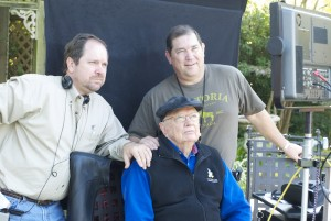 Rodney (left) and Terry Ray with their father, Asa, on the set of Flag of My Father.