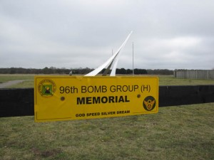 Memorial to the 96th Bomb Group in Snetterton Heath, UK. The site of the WWII bomber base is now a track for international auto races.