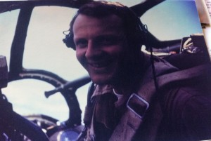 John Wagenhalls in the nose of a B-29