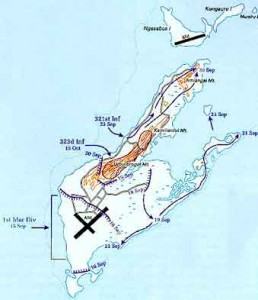 Map of the Battle of Peleliu. Click to enlarge. Wilcox saw action on both Peleliu and Ngesebus.