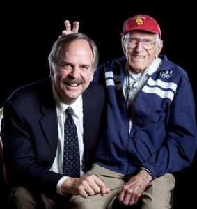 Louis Zamperini with his fellow USC alum and Olympic legend John Naber, who facilitated this interview.