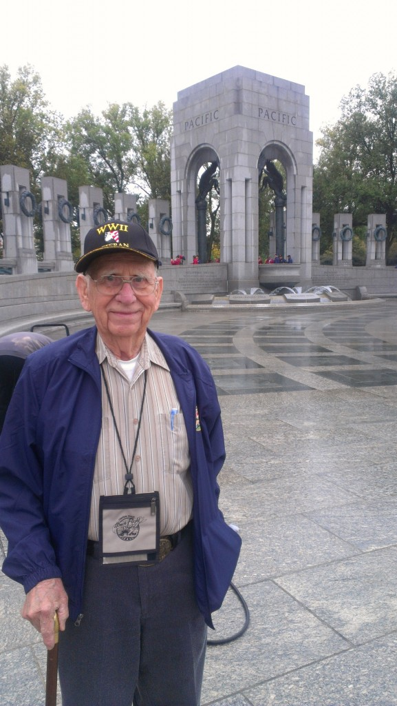 Dave Wall at the National World War II Memorial. (courtesy Sam Wall) For more photos from Dave and Sam's trip to Washington, D.C., visit the Hometown Heroes facebook page.