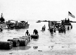 LCMs from Frank's unit unloading supplies at Leyte.