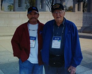 Willis Shepard with his son, Stan, at the National World War II Memorial. The Shepards traveled to Washington, D.C. with Honor Flight Kern County.