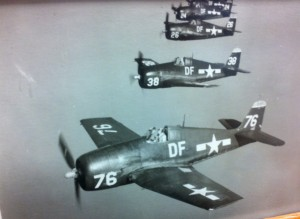 Bob flying in a fearsome foursome of F6F Hellcats.