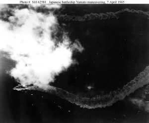 The Japanese battleship Yamato burning on April 7, 1945.