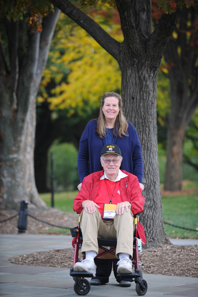 WWII Navy veteran Harlan Ellis, with his daughter, Sue Dotters. (photo by Kendyl Day)