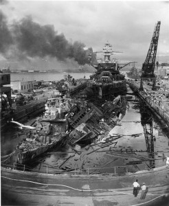 The USS Pennsylvania after the Japanese attack on Pearl Harbor.