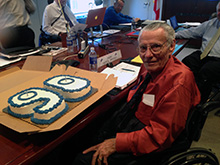 Frank celebrating his 90th birthday at the Paralyzed Veterans of America Headquarters in Washington, D.C. (courtesy PVA)