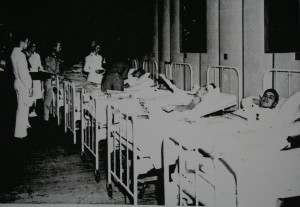 Bill Crumpacker (second bed from right) recovering at a hospital on New Caledonia.
