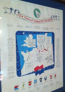 The path of the Timberwolves of the 104th Infantry Division in Europe, displayed on the wall of Jim's Novato home.