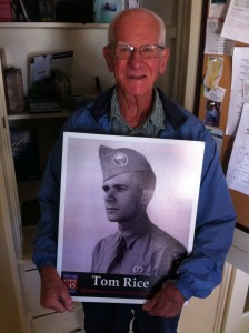 93-year-old Tom Rice showing us what he looked like as a WWII paratrooper.