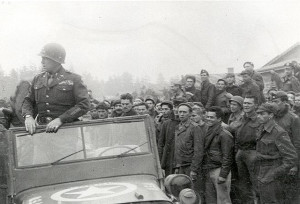 General George S. Patton at the liberation of Stalag VII-A in Moosburg.