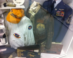 Among Bill's memorabilia on display at the Warhawk Air Museum is his WWII flight jacket, with the horseshoe insignia of the 491st Bomb Squadron stitched on.