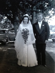 Leon and Roxie Christensen on their wedding day