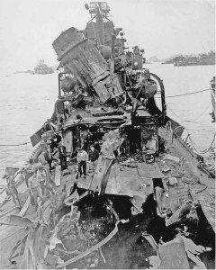 Damage to the USS Newcomb after it was hit by five kamikazes on April 6, 1945.