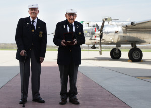 David Thatcher (left) and Dick Cole with their Congressional Gold Medal after it was flown to Dayton, Ohio on a B-25. (photo courtesy U.S. Air Force)