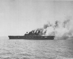 The USS Yorktown after being bombed by Japanese planes on June 4, 1942.
