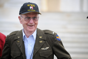 """I was accused of being a chick magnet,"" Eugene says of the reaction people had to his WWII dress jacket while touring Washington, D.C. with Central Valley Honor Flight. (photo by Kendyl Day)"