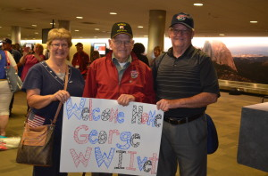 George with friends Kan and Sandy Trapp after coming home from his Central Valley Honor Flight journey to Washington, D.C.