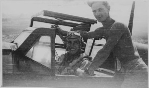 Ed Ellington was the first American pilot to fly a German ME-109 after the capture of Sicily. Here he is in the cockpit of that enemy plane.