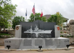 The U.S.S. Indianapolis Memorial in Indiana, IN. On the reverse side of the monument are the names of all 1,196 men aboard the ship on July 30, 1945.