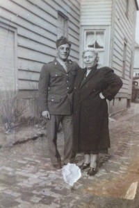 George with his mother during World War II.