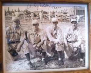 George Genovese (second from left) while playing for the Drew Army Air Field team during WWII.