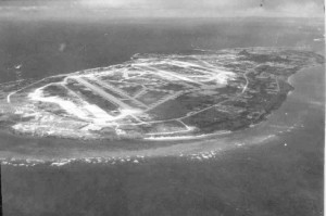This 1945 photo of Ie Shima shows the airfield where George worked.