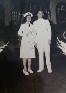 Peggy and Frank Bergthold at their Mare Island wedding in 1946.