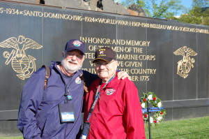 Charlie Wadhams and his son-in-law, Dr. Rick Geller, visiting the Marine Corps Memorial with Central Valley Honor Flight.