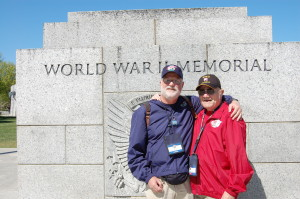 Rick and Charlie at the National World War II Memorial (photo courtesy Rick Geller)