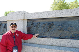 Charlie operated LCVPs like the one depicted in this bronze at the National World War II Memorial. (photo courtesy Rick Geller)
