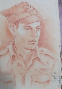 A portrait of POW Lester Beck from his wartime log.