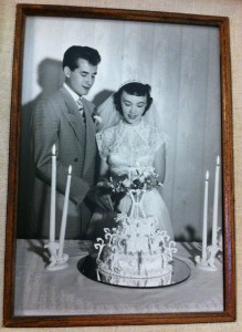 Jim and Pat Roach on their wedding day in 1949.