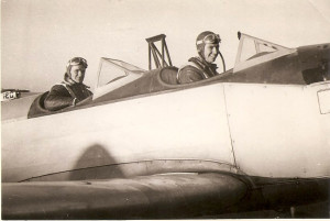 Bob Austin (right) training in a Fairchild PT-19.